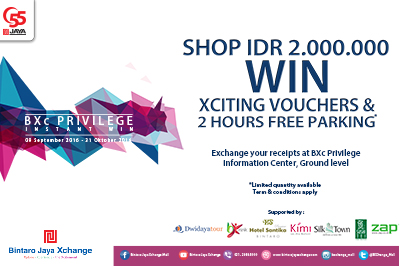 SHOP IDR 2.000.000 WIN Xciting Vouchers & 2 Hours Free Parking*
